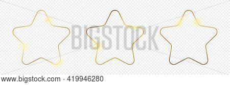 Set Of Three Gold Glowing Rounded Star Shape Frames Isolated On Transparent Background. Shiny Frame