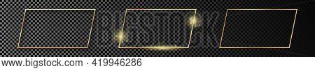 Set Of Three Gold Glowing Rectangular Shape Frames Isolated On Dark Transparent Background. Shiny Fr