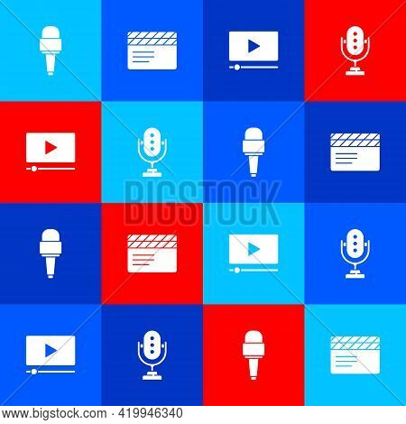Set Microphone, Movie Clapper, Online Play Video And Icon. Vector