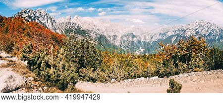 Beautiful Views Of The Valley Of The Village Of Theth And The Surrounding Mountains. Theth National