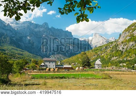 Beautiful View Of The Small And Historic Village Of Theth With Church And The Surrounding Mountains