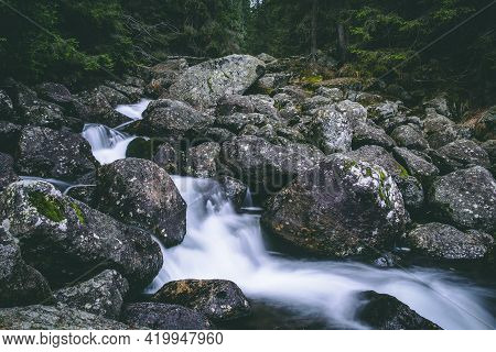 Wild Nature. Water Running Through Stones In Forest. Photo Theme Is Nature Wealth, Water, National P