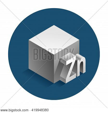 Zinc 3d Icon - Emblem Of Zn Chemical Metal Element. As Food Or Medical Component Or Material. Vector
