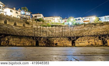 Ancient Theatre Of Ohrid At Night. State North Macedonia. Romantic Night Scene Of Ancient Theater.