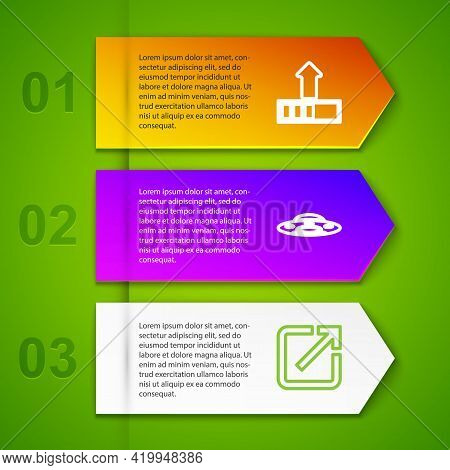 Set Line Loading, Ufo Flying Spaceship, Open New Window And Computer Network. Business Infographic T