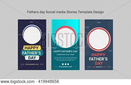 Fathers Day Social Media Stories Or Banner Template Design. Design For Social Media Timeline.  Edita