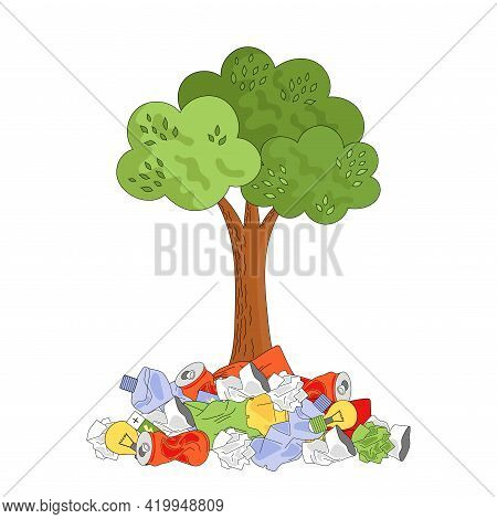 A Tree In A Pile Of Trash. Ecology Concept, Garbage Recycling, Waste Disposal. Vector Illustration I