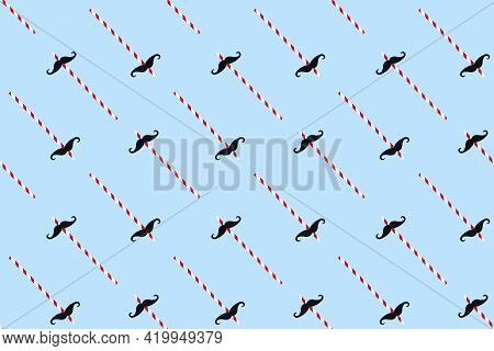 Black Mustache On Paper Drinking Straw For Party Seamless Pattern On Light Blue Background. Happy Fa