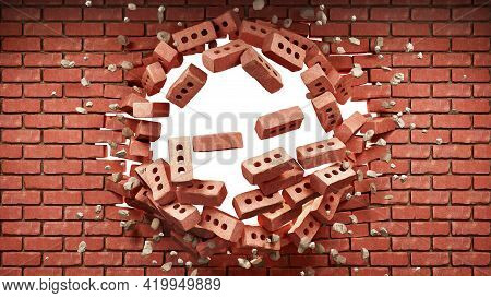 Destroyed Brick Wall With A Hole In It, 3d Illustration