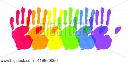 Vector Watercolor Painted Hands. Colorful Rainbow Pride Symbols Isolated On White Paper