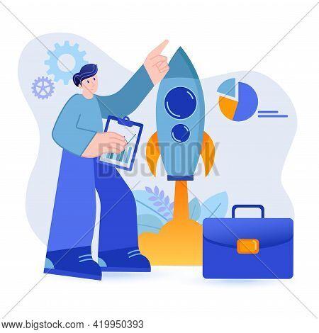 Startup Concept. Businessman Starts New Success Business Scene. Company Development, Project Investm