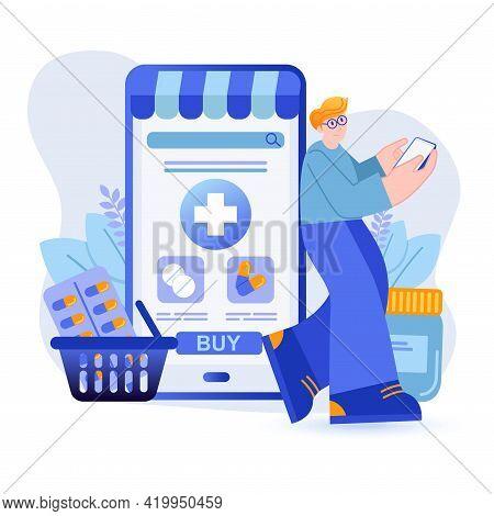 Online Pharmacy Concept. Man Buys Medicines Uses Mobile App For Smartphone Scene. Medicine, Doctors
