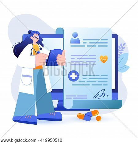 Online Medicine Concept. Doctor Provides Medical Services, Concludes Agreement With Patient Scene. M