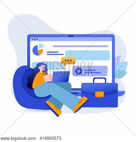 Freelance Concept. Businesswoman Working On Laptop And Communicate Online Scene. Home Office, Self-e