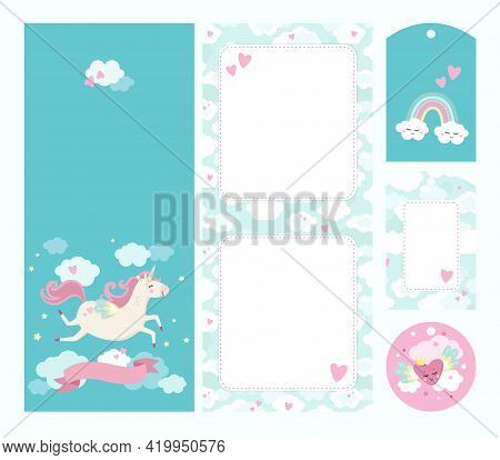 Unicorn Theme. 2-sided Greeting Or Invitation Card Template With Gift Tags And Flower Card. Funy And