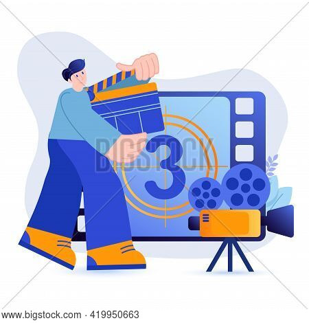 Video Production Concept. Man With Clapperboard Filming Content Or Making Film Scene. Movie Recordin