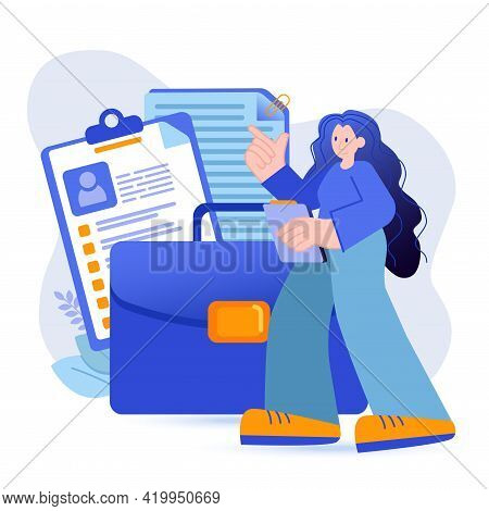 Portfolio Concept. Woman With Her Professional Portfolio, Completed Work Projects, Certificates Scen