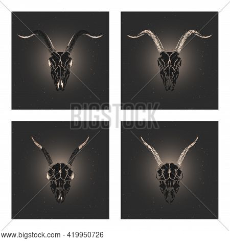 Vector Set Of Four Illustrations With Hand Drawn Black Silhouettes Skulls Goats With Gold Elements O