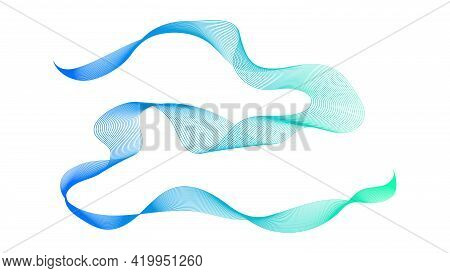 Abstract Backdrop With Blue And Green Wave Gradient Lines On White Background. Modern Technology Bac