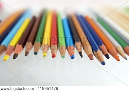 Multicolor Pastel Set Over White Paper, Creativity Concept