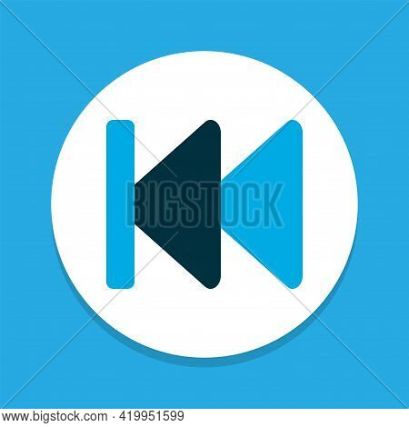 Previous Icon Colored Symbol. Premium Quality Isolated Rewind Element In Trendy Style.