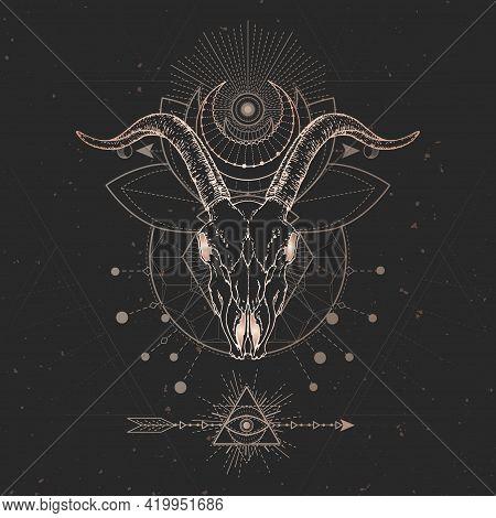 Vector Illustration With Hand Drawn Goat Skull And Sacred Geometric Symbol On Black Vintage Backgrou