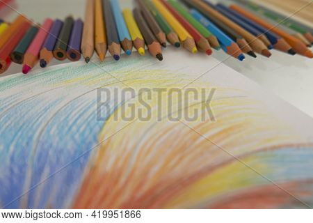 An Artistic Drawing With Pastels Creativity Concept