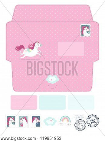 Magic Vector Die Laser Cut Envelope Template With Unicorns. Fantasy And Lovely Set. Cute, Colorful C