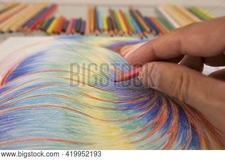 Artistic Drawing On Paper With Pastels Creativity Concept
