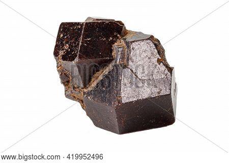 Macro Stone Grossular Mineral On White Background