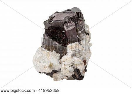 Macro Tourmaline Mineral Stone On White Background Close Up