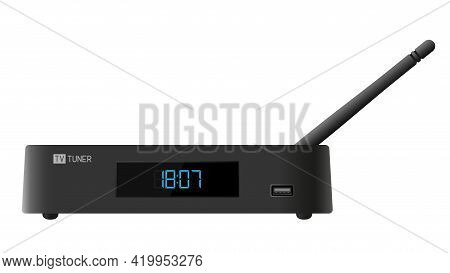 Tv Tuner. Tv Set-top Box. Used For Watching Iptv, Movies And Internet Surfing.  Isolated Background.