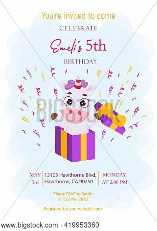 Happy Birthday Printable Party Invitation Card Template. Event Template With Cute Magical Unicorn Ju