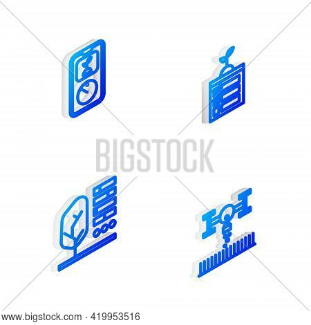 Set Isometric Line Smart Farming Technology, , Plant Status And With Drone Icon. Vector