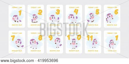 Baby Milestone Cards With Cute Magical Unicorn Flying On Number Balloons For Newborn Girl Or Boy. Ba