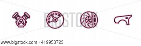 Set Line Car Engine, Brake Disk With Caliper, Speedometer And Fender Icon. Vector