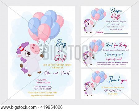 Baby Shower Printable Party Invitation Card Template Baby Boy Or Girl With Diaper Raffle, Book For B