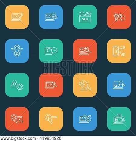 Search Icons Line Style Set With Live Chat, Mobile Marketing, Seo Package And Other Operator Element
