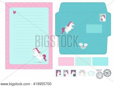 Magic Vector Blank And Die Laser Cut Envelope Template With Unicorns. Fantasy And Lovely Set. Cute,