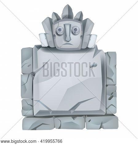 Stone Sign Board, Vector Cartoon Game Ancient Totem Boulder, Maya Spirit Face, Square Cracked Rock.