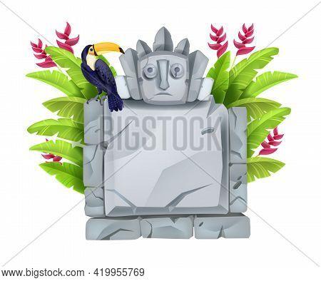 Jungle Stone Sign Board, Vector Cartoon Rock Block, Cracked Maya Totem Face, Toucan, Tropical Flower