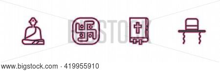 Set Line Buddhist Monk, Holy Bible Book, Jainism And Orthodox Jewish Hat With Sidelocks Icon. Vector