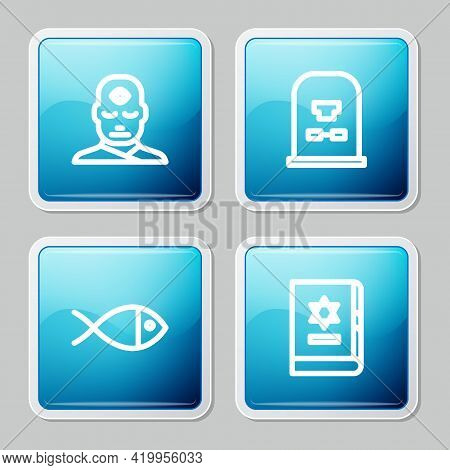 Set Line Man With Third Eye, Tombstone Rip Written, Christian Fish And Jewish Torah Book Icon. Vecto