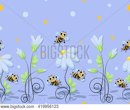 Bees Fly. Swarm. Chamomile Background, Pattern. World Bee Day. Bee Swarming, Honey Bees Fly