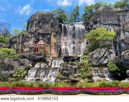 Landscape with pavilion and waterfall  in oriental nature garden in Fuzhou,Fujian,China