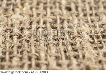 Macro Shot Yellow Linen Fabric Texture. Linen Natural Canvas Texture With Pattern. Fabric Texture. R