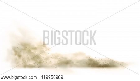 Dust Cloud With Particles With Dirt,cigarette Smoke, Smog, Soil And Sand Particles. Realistic Vector