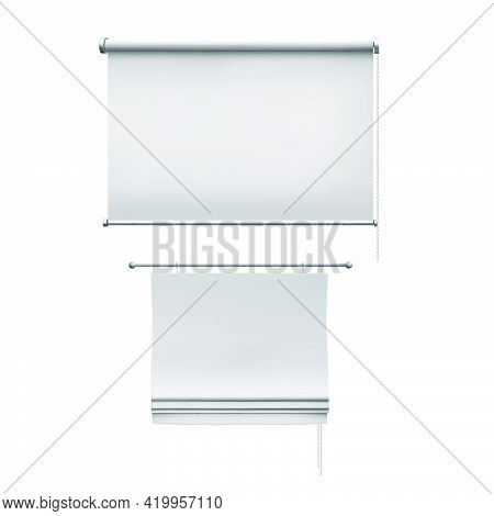 Roman White Curtains And Roller Blinds. Vector 3d Realistic Illustration Isolated On Transparent Bac