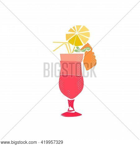Pina Colada Cocktail Emblem, Flat Vector Art