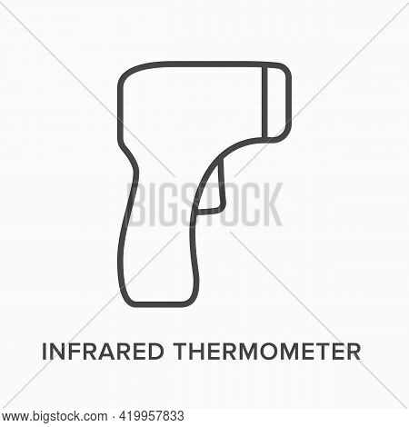 Infrared Thermometer Flat Line Icon. Vector Outline Illustration Of Digital Measurement. Black Thin